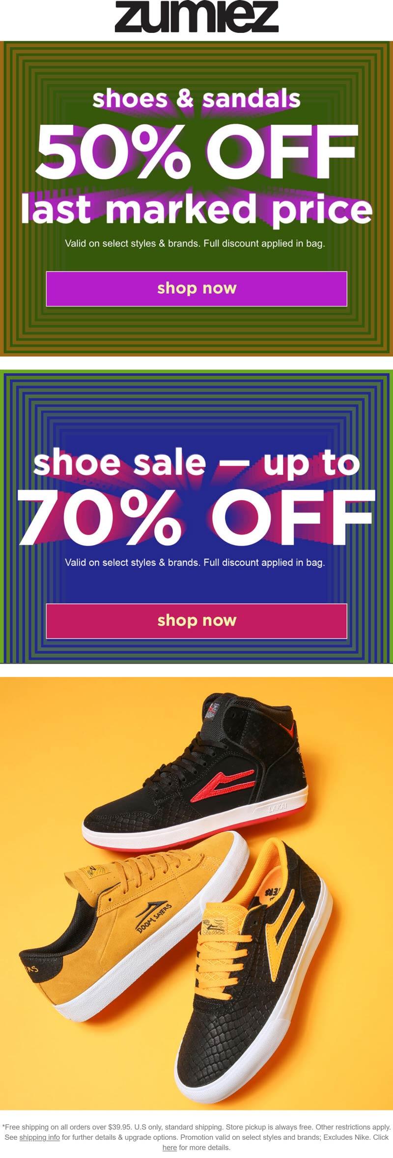 Zumiez stores Coupon  Extra 50% off sale shoes & sandals at Zumiez #zumiez