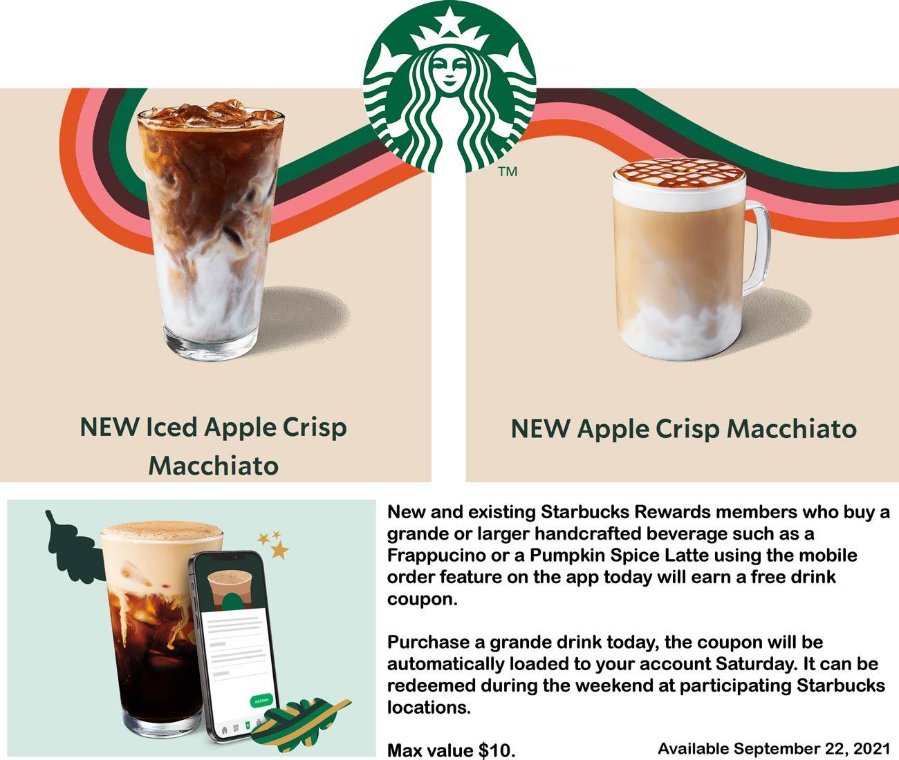 Starbucks restaurants Coupon  Second followup grande coffee free via mobile order today in the Starbucks app #starbucks