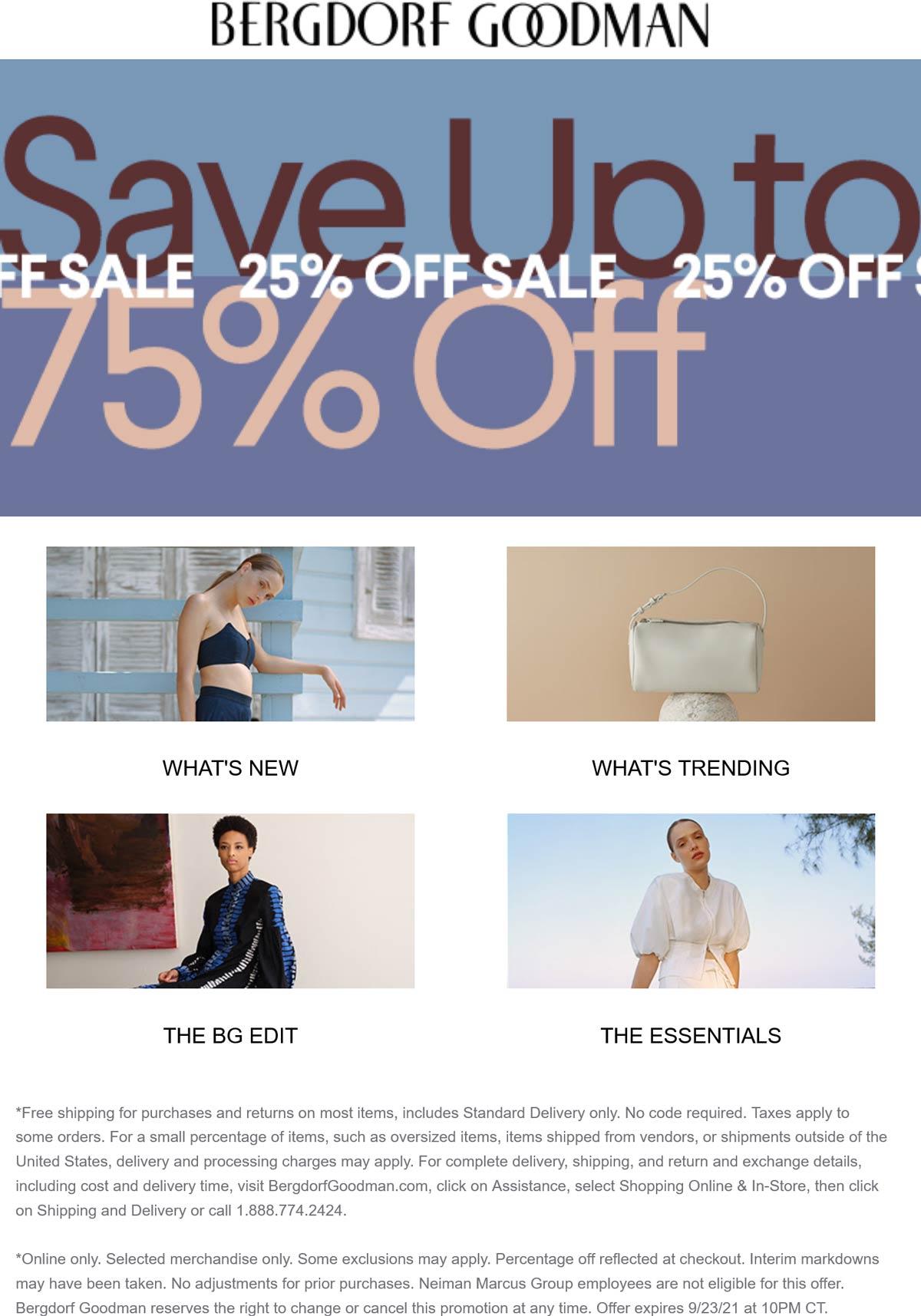 Bergdorf Goodman stores Coupon  Extra 25% off sale items today online at Bergdorf Goodman #bergdorfgoodman