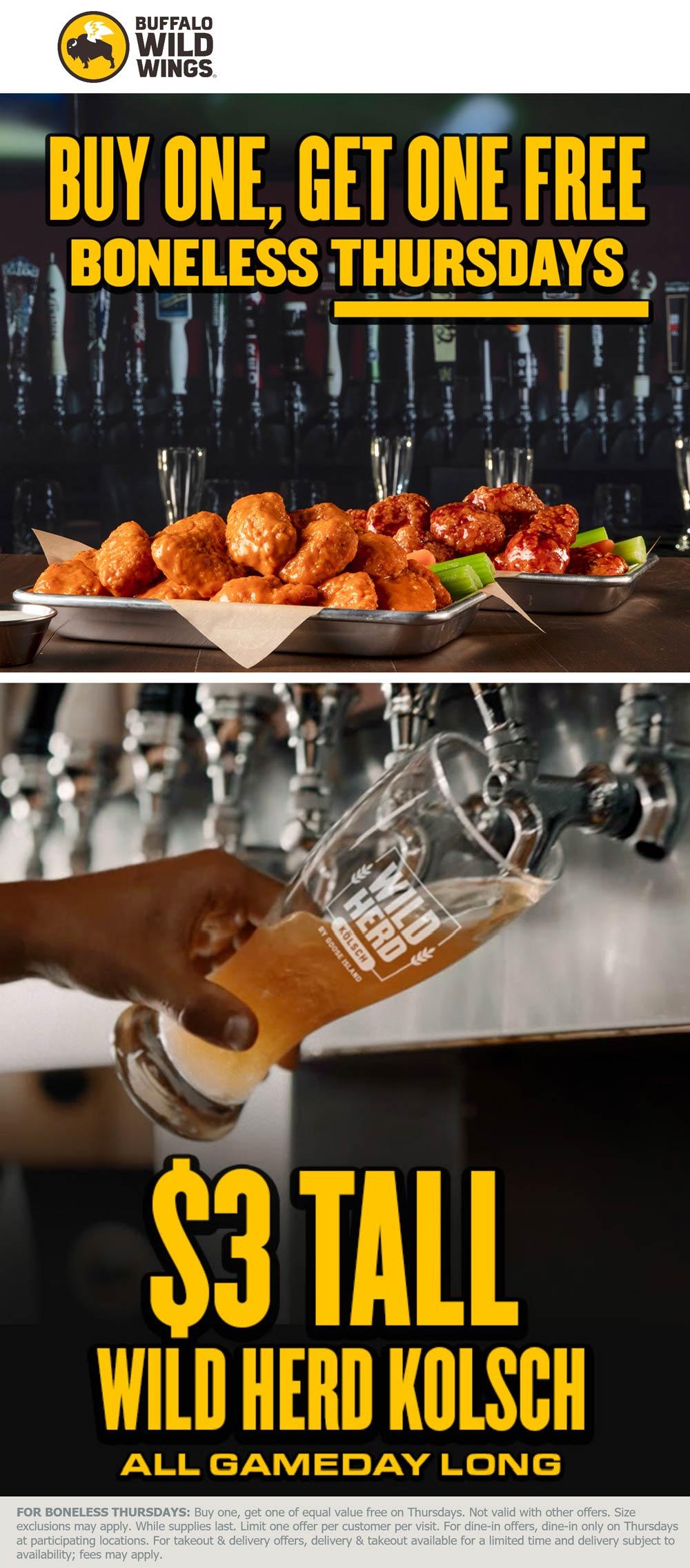 Buffalo Wild Wings restaurants Coupon  2nd boneless chicken wings free today at Buffalo Wild Wings #buffalowildwings