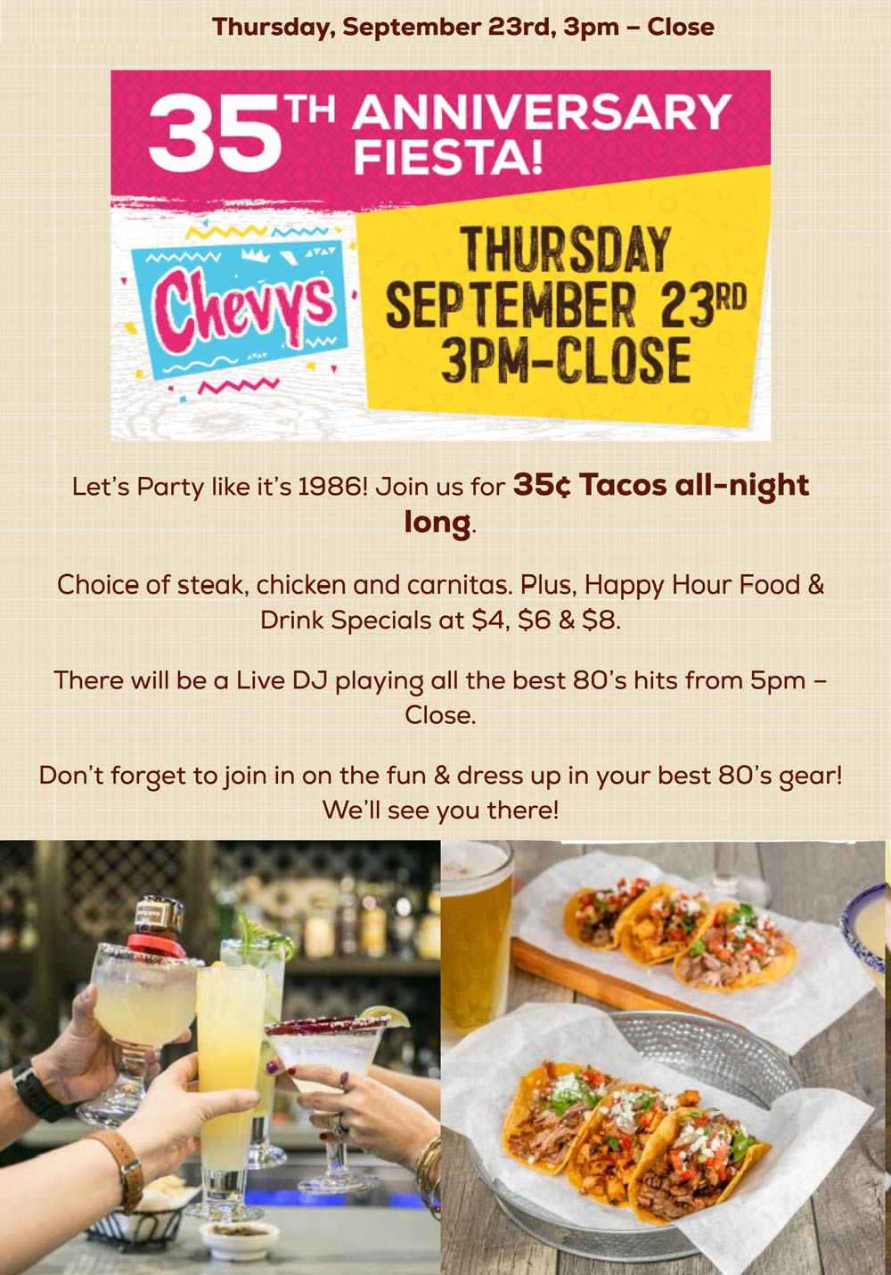 Chevys restaurants Coupon  .35 cent tacos today at Chevys Fresh Mex restaurants #chevys