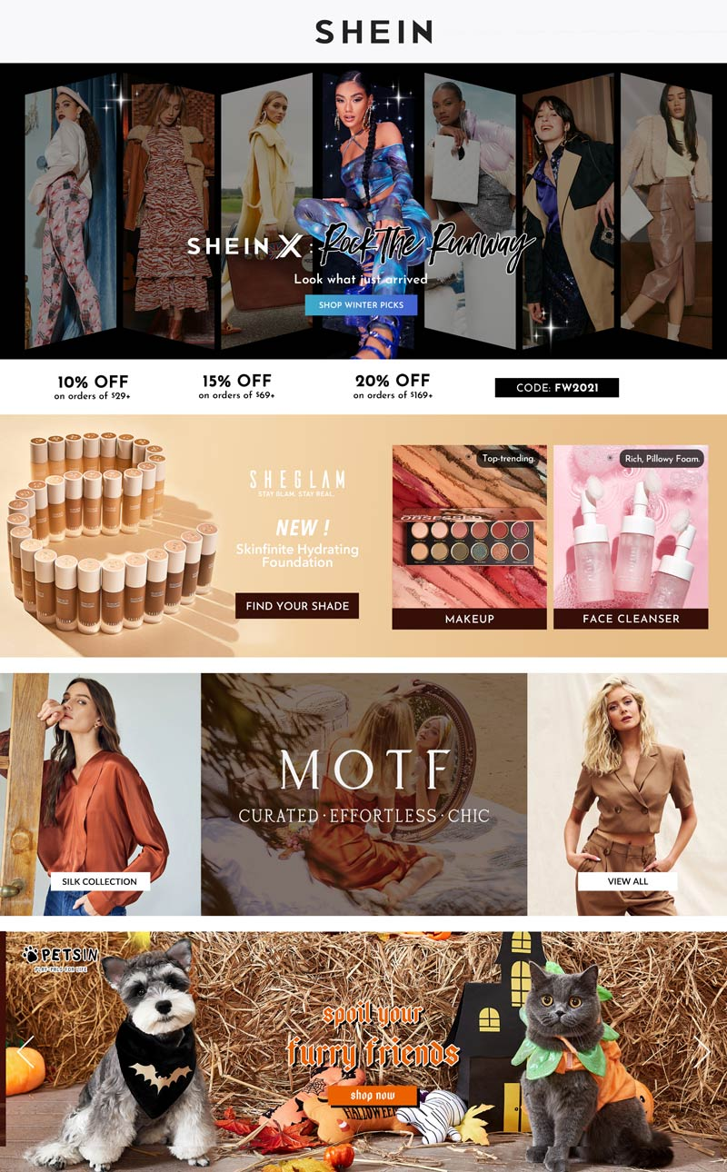 SHEIN stores Coupon  10-20% off $29+ at SHEIN via promo code FW2021 #shein