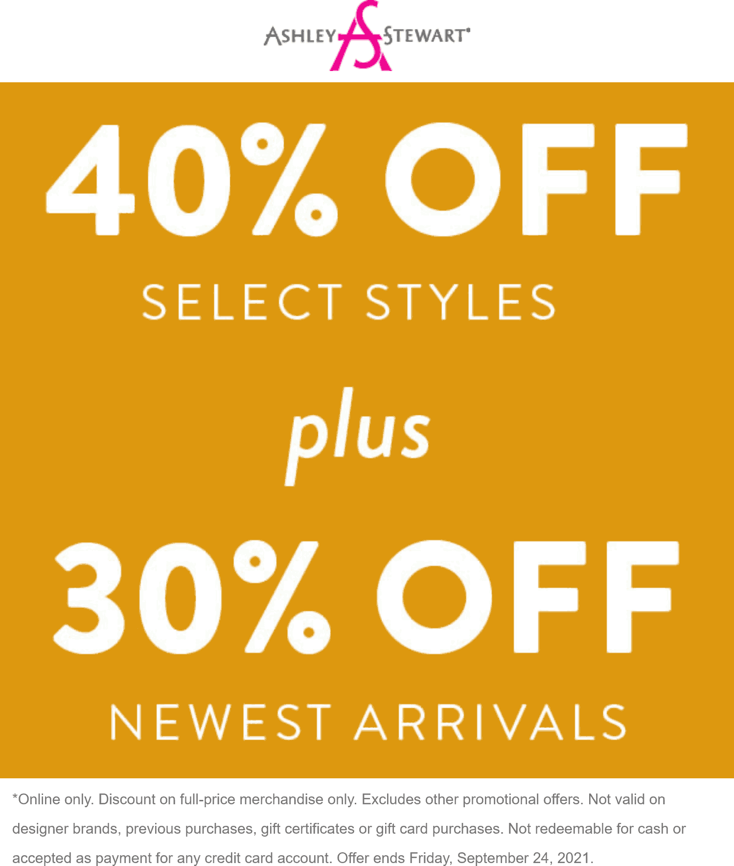 Ashley Stewart stores Coupon  30% off new arrivals online today at Ashley Stewart #ashleystewart