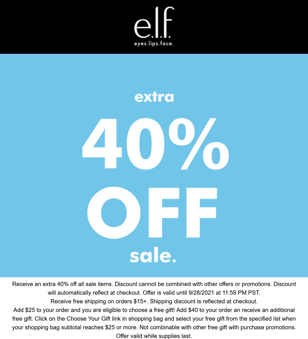 e.l.f. Cosmetics stores Coupon  Extra 40% off sale items at e.l.f. Cosmetics #elfcosmetics