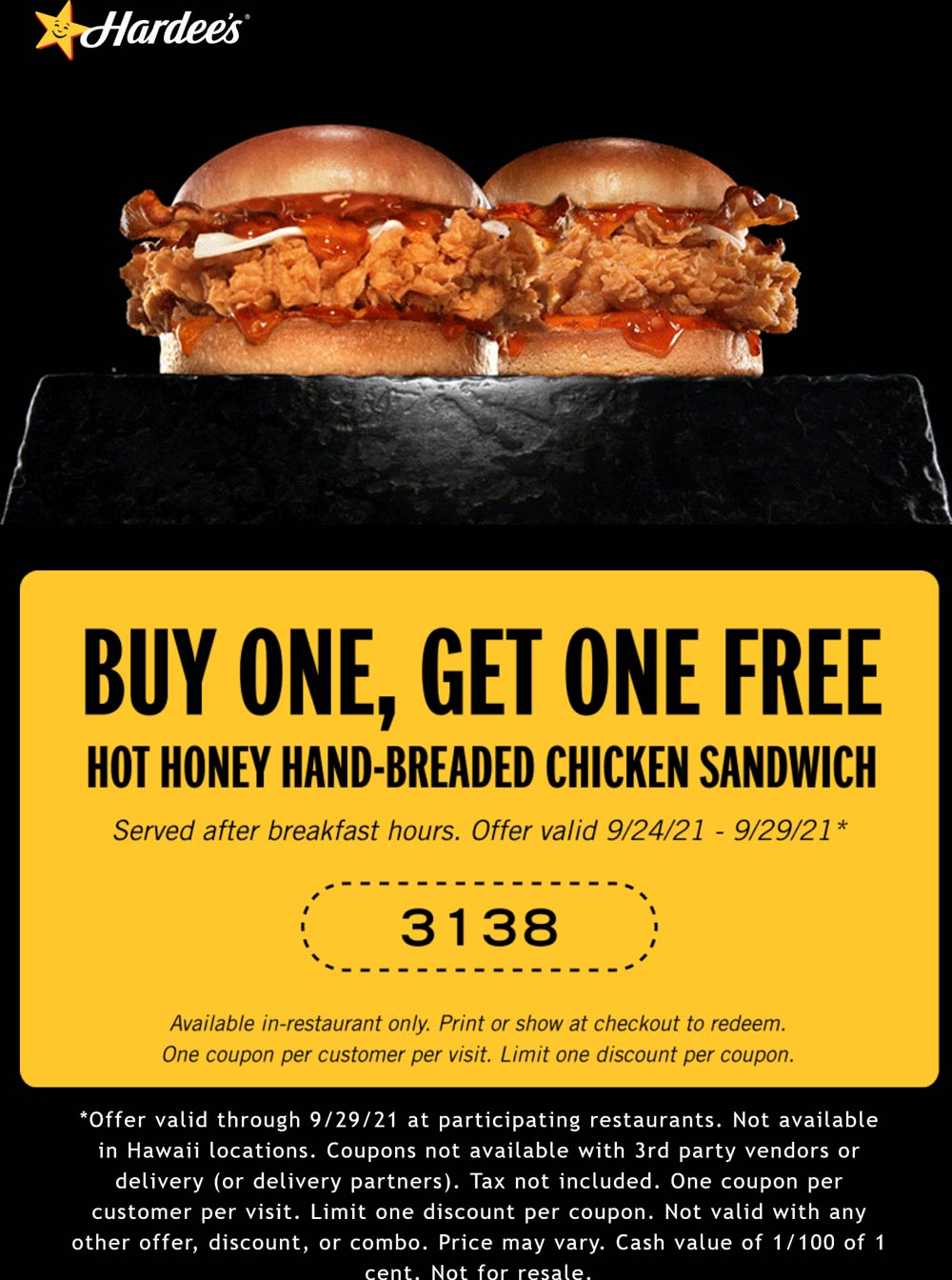 Hardees restaurants Coupon  Second chicken sandwich free at Hardees #hardees